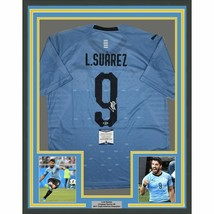 FRAMED Autographed/Signed LUIS SUAREZ 33x42 Uruguay Blue Jersey Beckett ... - $499.99