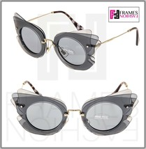 MIU MIU Overlapping Game 02S Grey Silver Mirrored Butterfly Sunglasses M... - $207.90