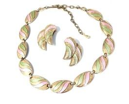 Demi Parure Necklace Clip Earrings Set, Vintage 1960's Pastel Green Pink... - $24.74