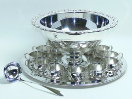 "Oneida Du ""Maurier"" Punch Bowl 13 Piece Set With Tray Silverplateed Silver New - $1,449.90"