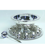 ONEIDA Du Maurier Punch Bowl 13 PIECE Set WITH TRAY Silverplateed SILVER... - $449.90