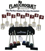 GOLF CROQUET SET w/ CARRYING CASE 9 Disc Chain Pin Holes AMISH USA HANDMADE - $492.99