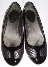 Cole Haan NikeAir Black Leather Quilted Patent Ballet Flats 7.5 Shoes - $39.96
