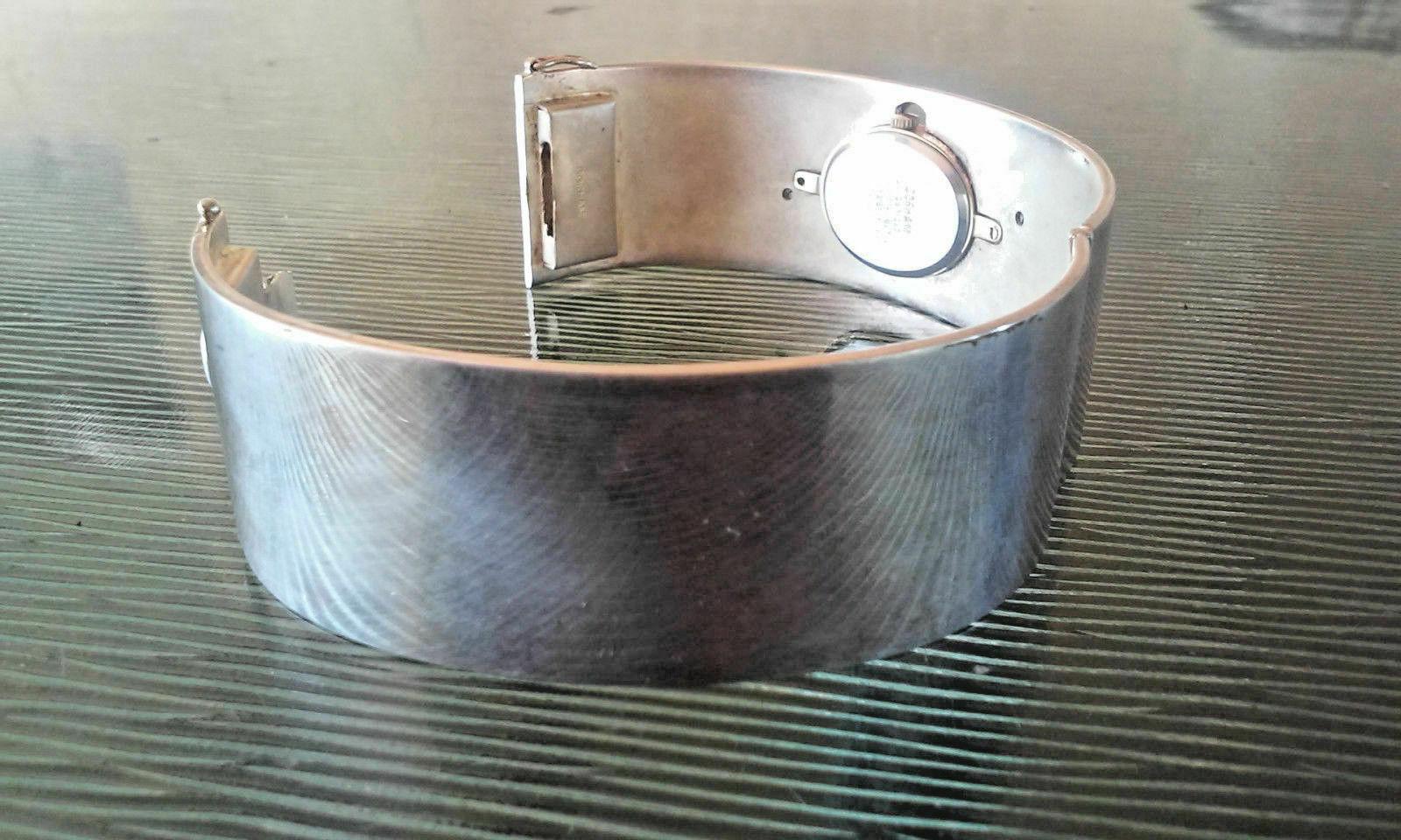 Vintage Gorham Unicorn Two Tone Hinged Bangle Bracelet Wrist Watch in Box RARE F image 7