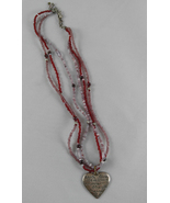 AE American Eagle Pink and Red Beaded Heart Pendant & Hearts Charms Neck... - $7.99