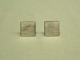 """Vintage Square Cuff Links brushed silver metal Mens Costume Jewelry 3/4'"""" formal - $3.80"""