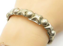 MEXICO 925 Silver - Vintage Hugs & Kisses XO Smooth Cuff Bracelet - B6215 image 1