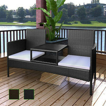Patio Outdoor Garden Sofa w/ Tea Table 2-Seater Bench Poly Rattan Brown/... - $168.99