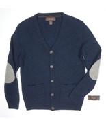 Tasso Elba Wool Sweater Cardigan Night Blue Gray Elbow Button Down Knit ... - $34.99