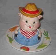 Wonderful Fitz And Floyd Farmer Pig Childs Plate Bowl Cup Set - $38.52