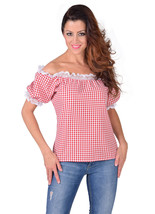 Off the Shoulder Blouse - Oktoberfest / Gypsy / Mediterranean -RED CHECK, XS-XXL - $24.56+