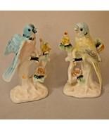 """Bird Figurines Parakeet Bluebird Porcelain 5 1/2"""" Tall Japan Vintage - £12.10 GBP"""