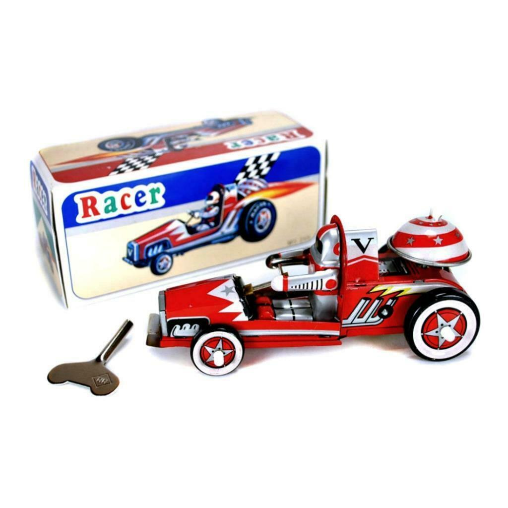 TIN TOY RACE CAR Wind Up Collectible Classic Red Racing Car Bell Mechanical NEW - $12.95