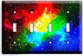 Space Galaxy Stars Rainbow Nebula Cloud Light Switch 4 Gang Plate Room Art Decor - $17.99