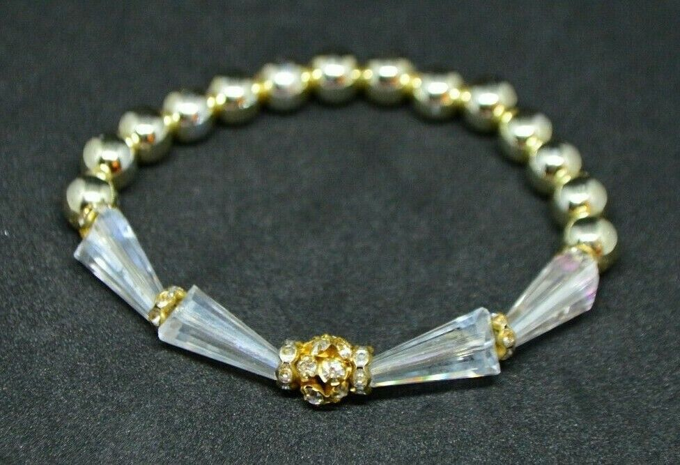 Primary image for Clear Rhinestone Plastic Crystal Gold Tone Bead Beaded Stretch Bracelet