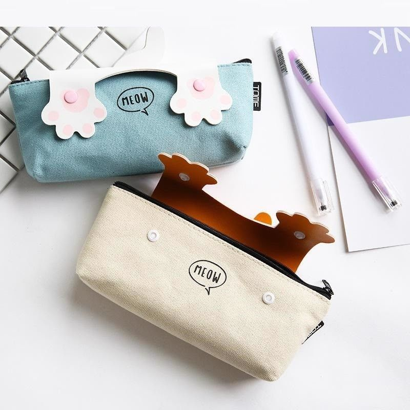 Fabric Quality Cats Pencil Case School Supplies Bts Stationery Cute Gift Box Bag