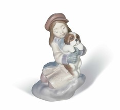 Lladro Porcelain Retired 01008265 I'll keep you warm New in Box Girl Dog... - $308.55