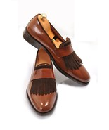 Men's Brown Colour Handmade Leather Shoes, Slip on Dress Formal Fringe L... - $144.99+