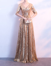 Women Long Sequin Dress Outfit Half Sleeve Wedding Gold Sequin Dress Plus Size image 2