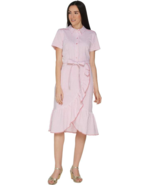 Isaac Mizrahi Live! 18 Seersucker Shirt Dress with Ruffle Tea Rose 18W - $27.76