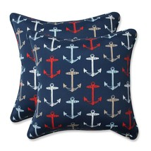 Pillow Perfect Outdoor/Indoor Anchor Allover Arbor Throw Pillow (Set of ... - £56.60 GBP