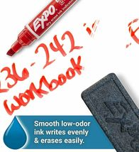 Expo Ink Indicator Dry Erase Markers, 4 Count Black, Blue, Red, Green Chisel Tip image 6