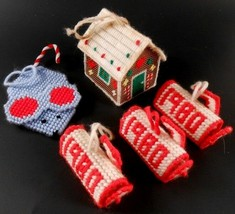 Plastic Canvas Ornaments lot of 5 Gingerbread House, Mouse Candy Cane Ke... - $9.89