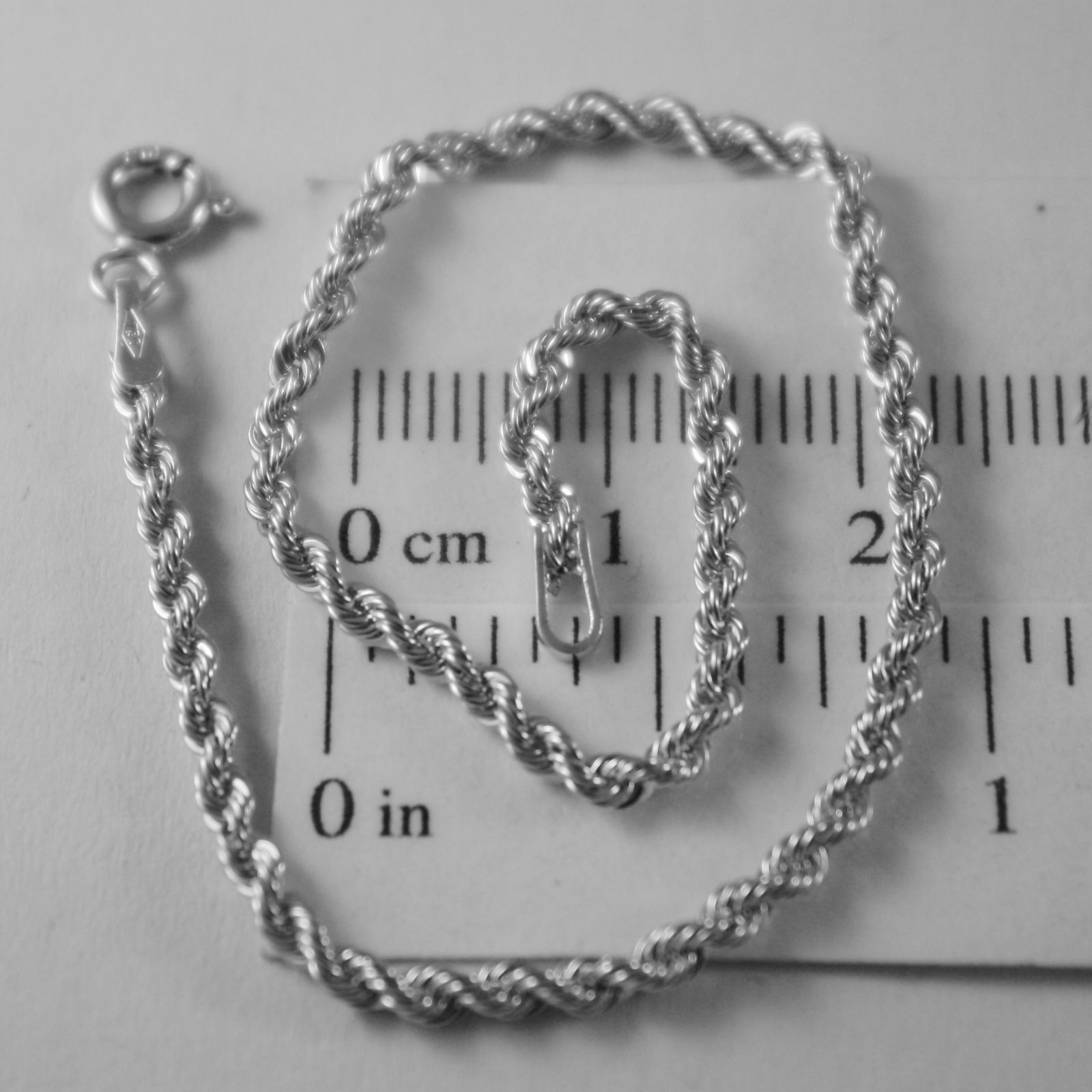18K WHITE GOLD BRACELET, BRAID ROPE LINK, 7.30 INCHES LONG, MADE IN ITALY