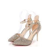 87H101 Luxury bling bling ankle pump, size 3-8.5,gold - $58.80