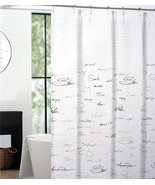 Tahari Shower Script Gray on White Shower Curtain - $34.00