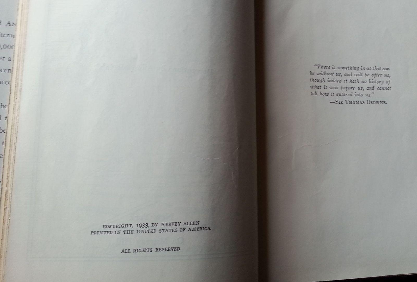 Anthony Adverse by Hervey Allen 1933 HBDJ