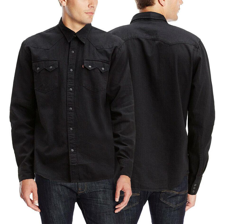 Levi's Classic Casual Denim Black Sawtooth Western Shirt Color Black 658190098
