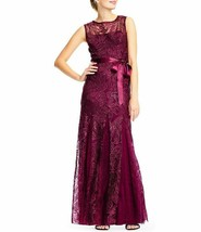 Adrianna Papell Godet Sequined Lace Waist Tie Dress Sz 6  Cabernet - $134.00