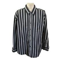 Bugatchi Uomo Men's Long Sleeve Gray Striped Button Cotton Shirt XLarge - $17.99