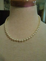 """VINTAGE NECKLACE  SINGLE STRAND GLASS COATED FAUX PEARL STRAND 16"""" MENORCA - $20.00"""