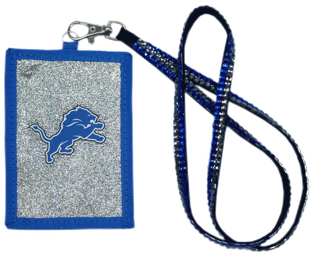 DETROIT LIONS BEADED LANYARD ID CREDIT CARD ZIPPER POCKET WALLET FOOTBALL