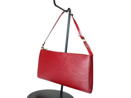 Authentic LOUIS VUITTON Pochette Accessoires Red Epi Leather Hand Bag LP... - $339.00
