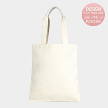 Ginga's Galleria DIY Ivory Patternless Plain Cotton Canvas Eco Shopper Bag - $20.50