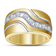 14k Yellow Gold Plated 925 Sterling Silver Round Cut White CZ Men's Wedding Ring - $77.49