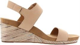 Lucky Brand Kollia Leather Platform Wedge Sandal STONE 9M NEW 651-941 - $76.21