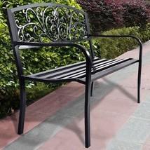 Black Backyard Bench Outdoor Patio Park Seat For 2 Person Metal Garden F... - $119.60