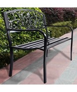 Black Backyard Bench Outdoor Patio Park Seat For 2 Person Metal Garden F... - $119.60