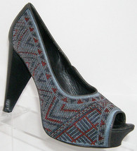 Donald J Pliner 'Ceci' gray red tribal beaded peep toe platform heels 6.5M - $95.89