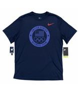 Nike Men's United States Olympic Team DRI-FIT T-Shirt Navy Blue Short Sl... - $26.99