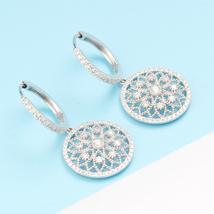 Luxury Diamond Drop Earrings 18k White Gold Female Lace Flower Design image 3