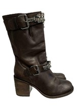 Vera Wang Lavender Uma Moto Boots Leather Crystal Harness Size 37 7 M Brown - $82.79