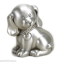 Baby Puppy Dog Piggy Bank - Pewter Finish Money Coin Box - Gift Boxed - $28.70