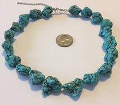 Vintage large chunky Kingman turquoise gemstones beaded necklace - $99.00