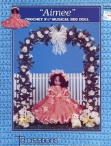 "Aimee 9.5"" Musical Bed Doll Outfit Td Creations Crochet Pattern Leaflet NEW HTF - $3.57"