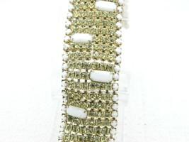 Hobe Yellow White Milk Glass Rhinestone Wide Gold Tone Bracelet Vintage - $123.74